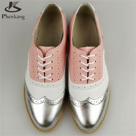 Flat Shoes Pink Silver genuine leather big designer vintage flat shoes