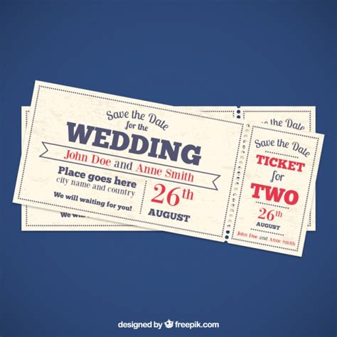 Wedding Invitation Tickets Vector Free Download Wedding Ticket Template Free