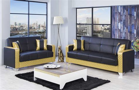 black and gold living room furniture with white table