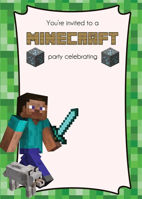 minecraft invitation template free minecraft printables lemonberrymoon