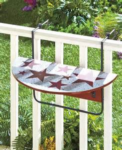 folding deck patio porch tray table secures to railing