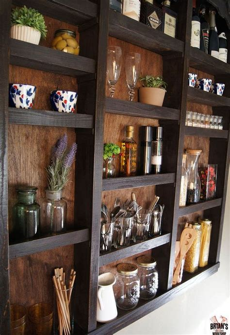 diy kitchen wall ideas built in kitchen wall shelves hometalk