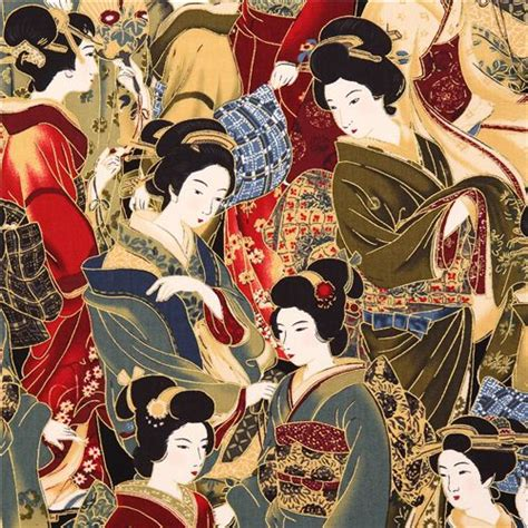 robert kaufman japanese geisha asia fabric crimson asia