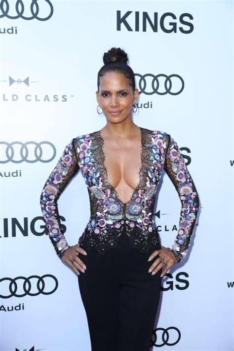 halle berry wows  cleavage heavy ensemble  kings