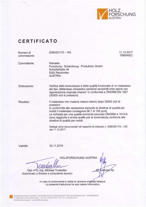 Matratze Qualitätskriterien riconoscimenti e certificati