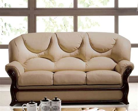 Italian Sofa Leather Italian Leather Sofa Bed European Design In Beige Finish 33ss282