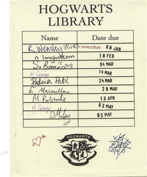 library book due date card template the centered librarian hogwarts library date due card