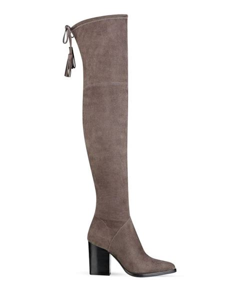 marc fisher alinda suede the knee boots in brown lyst
