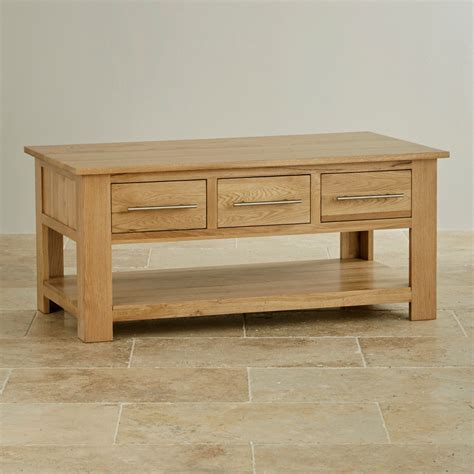 Rivermead 6 Drawer Coffee Table In Natural Solid Oak Oak Coffee Table