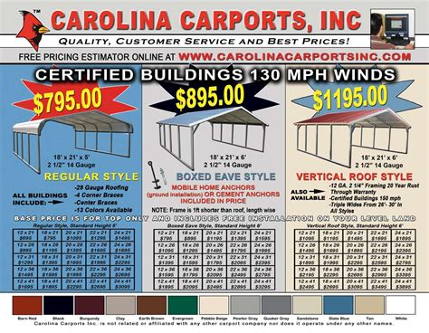 Carport Price List by Carports Prices Steel And Metal Carports Price List