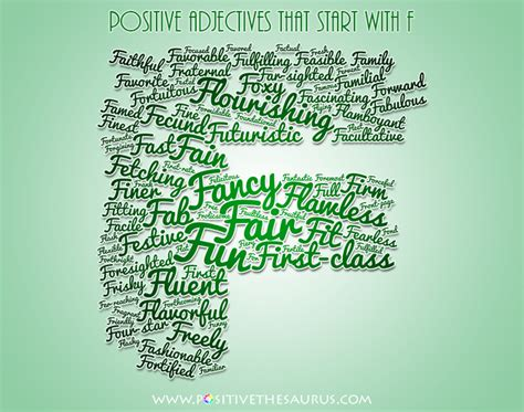 5 Letter Words Adjectives positive adjectives beginning with letter f word cloud