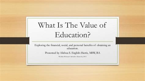 what is the value of education