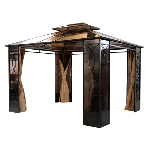sunjoy reflections 10 ft x 14 ft steel gazebo l gz760pst