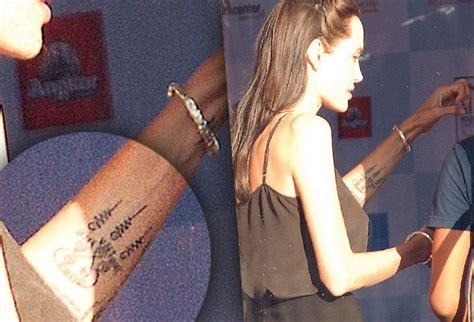 angelina jolie gets new tattoo angelina jolie debuts new tattoo find out what it means