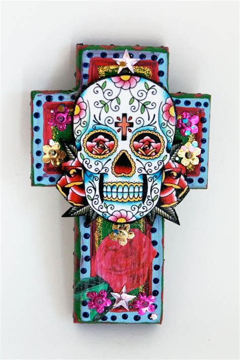 mexican sugar skull on wooden cross roygbiv pink baby