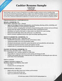 Resume Objective Exles For Cashier Position Resume Education Section Order
