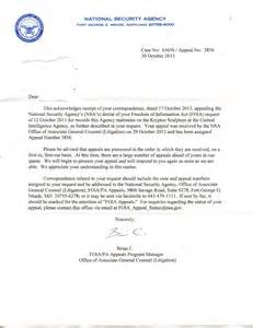 my nsa kryptos foia appeal letter initial response