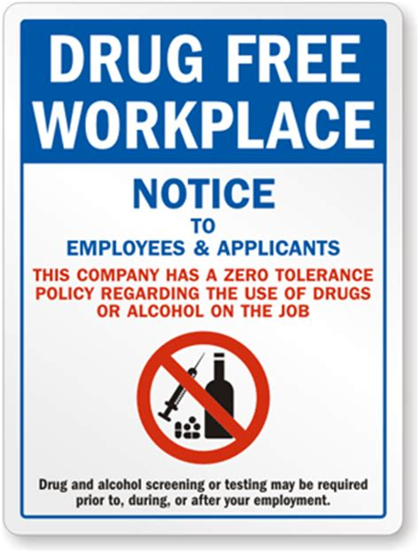 drug free workplace sign workplace drug policy sign sku