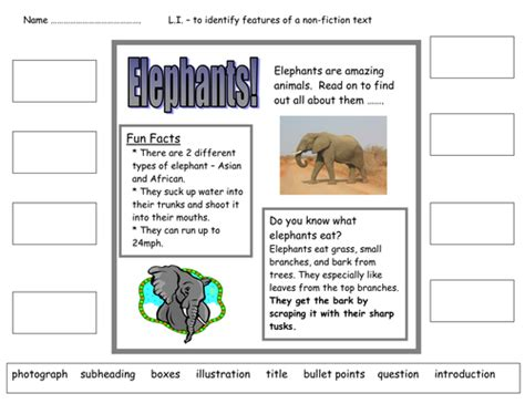 layout features ks2 features of a non fiction text by nickybo uk teaching