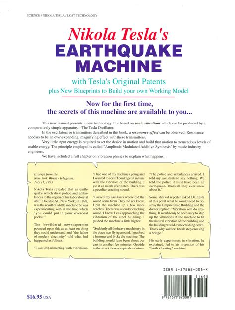 Nikola Tesla Earthquake Nikola Tesla S Earthquake Machine With Tesla S Original