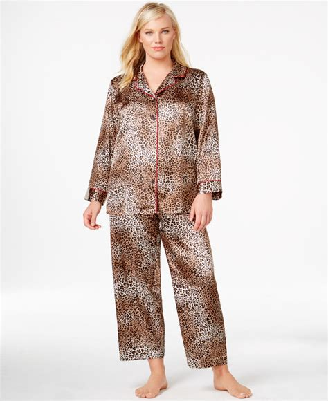 Pyjamas Set Toppants Size Ml plus size satin top and pajama set in brown lyst