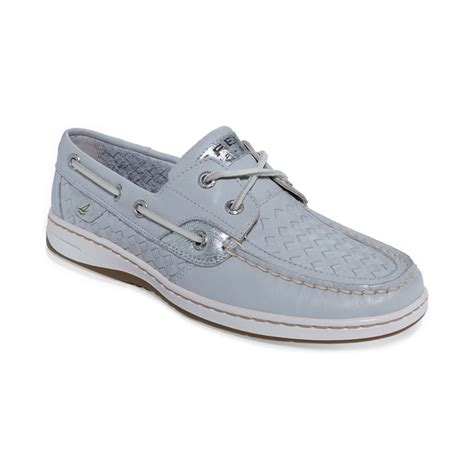 sperry top sider womens bluefish boat shoes in gray grey