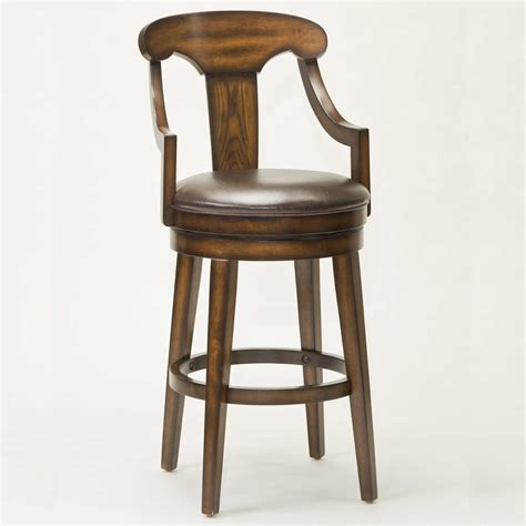 Wooden Bar Stool With Back Wood Swivel Bar Stool With Back And Arms Decofurnish