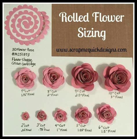How To Make Rolled Paper Flowers - rolled paper flower sizing chart cricut paper flowers