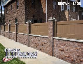 Trellis Fencing On Top Of Wall Where Can I Get Brown Vinyl Privacy Fence Fences Bricks