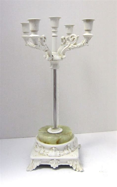 shabby chic white candelabra centerpiece candle holder with
