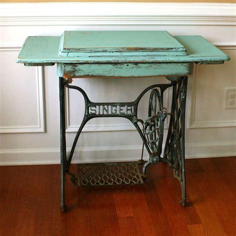 vintage turquoise entryway table desk singer treadle