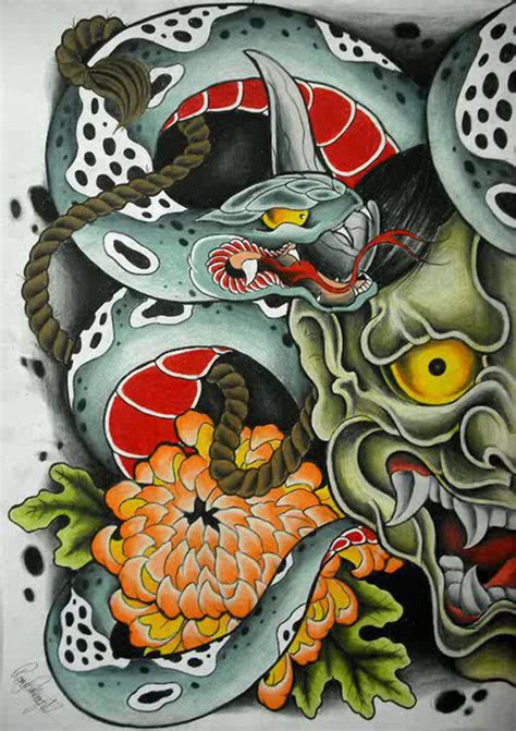 tattoo oriental on tumblr hannya mask on tumblr