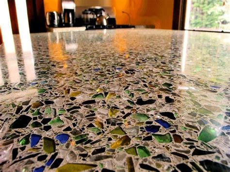 Glass Cement Countertops by Counter Tops And Flooring Made Of Sea Glass In Concrete