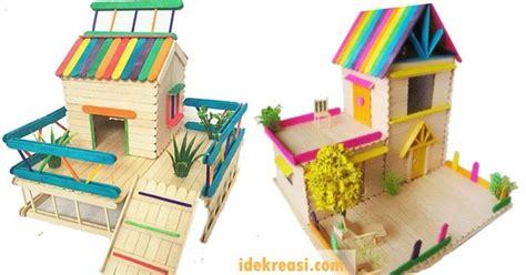 cara membuat rumah tingkat dari kardus kerajinan tangan dari stik es krim miniatur rumah ide