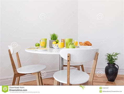 tasty breakfast on a white table royalty free stock
