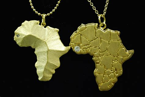 africa map pendant gold terrain necklace