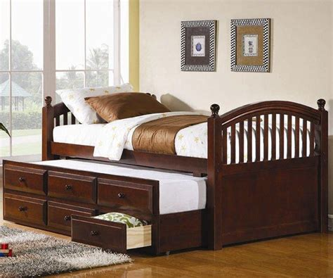 bed trundle coaster cherry finish trundle captains bed for kids with