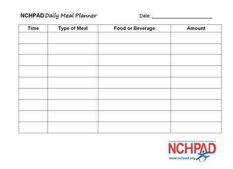 daily food planner template nchpad daily meal planner template nchpad building