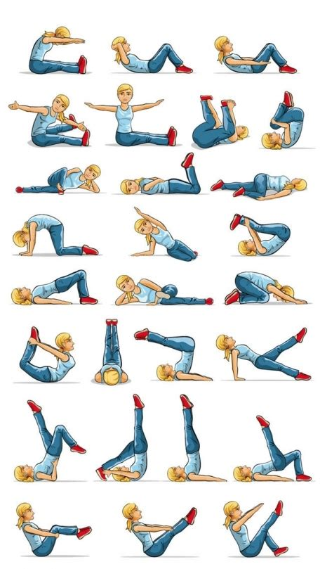 pilates fitness exercises stretches postures and