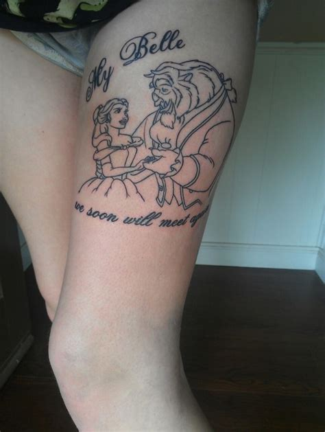 beauty and the beast couple tattoo and the beast leg tattoomagz