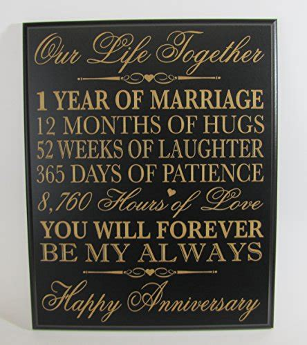 1st year wedding anniversary gifts for her lifesong milestones 1st wedding anniversary wall plaque