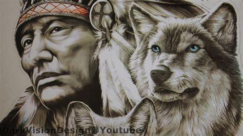 Aufkleber Indianer Und Wolf poster bild klebebild aufkleber fuer indianer wolf by the