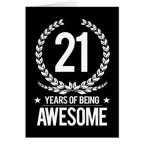 Birthday Cards 21 Years 21st Birthday 21 Years Of Being Awesome Card Zazzle