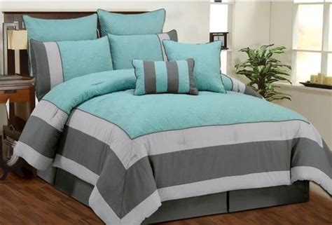 gray and aqua bedding aspen aqua blue smoke gray quilted comforter bed in a bag set queen ebay my