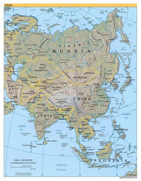 big map of asia large political map of asia with relief 2004 vidiani