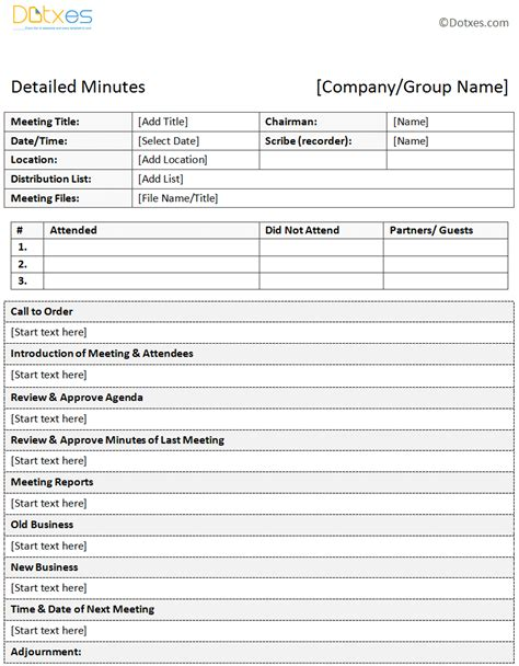 meeting minutes format template business