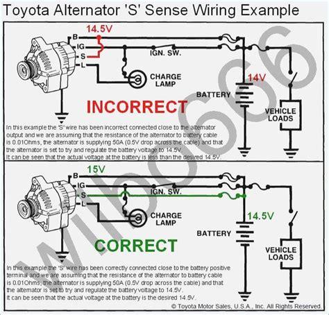 wiring diagram toyota alternator  sense wire
