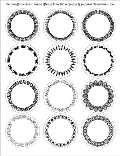template for circle labels vintage style labels by cathe holden series 2