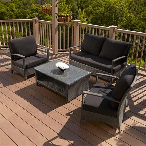 resin wicker outdoor 4 patio lounge set