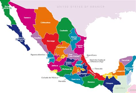 the map of mexico states mexico map by states